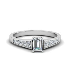 Emerald Cut Graduated Pave Accent Diamond Ring In 14K White Gold