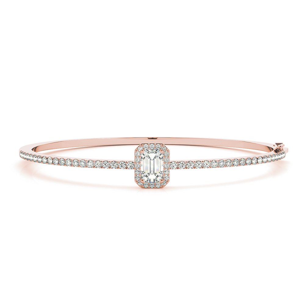 18K Rose Gold Emerald Cut Halo Bracelet