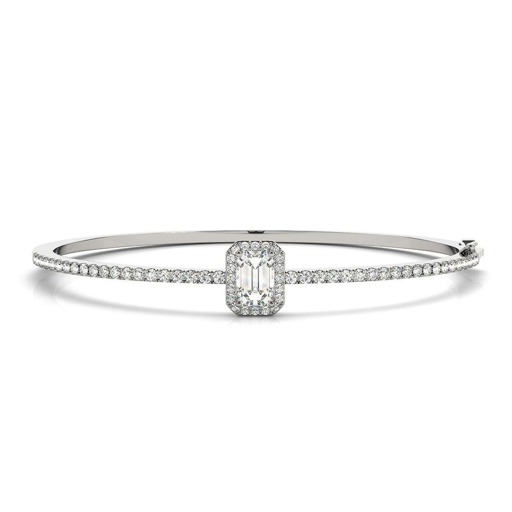 18K White Gold Emerald Cut Diamond Bangle Bracelet