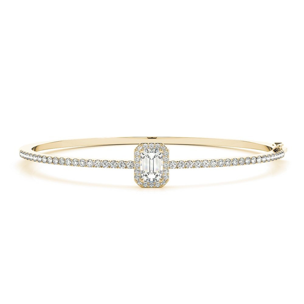 18K Yellow Gold Halo Diamond Bangle Bracelet