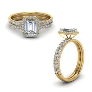 Emerald Cut Halo Diamond Bridal Set In 14K Yellow Gold