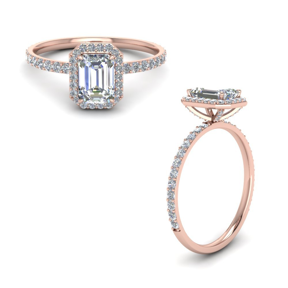 Emerald Cut Halo Diamond Ring In 14K Rose Gold