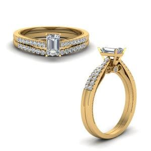 High Set Milgrain Wedding Set