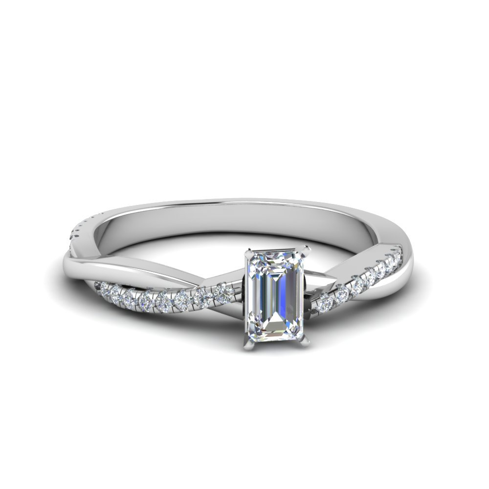 Emerald Cut Infinity Twist Diamond Ring