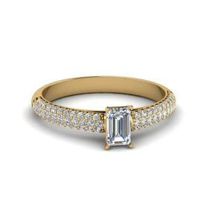 Emerald Cut Micropave Natural Diamond Engagement Ring In 14K Yellow Gold