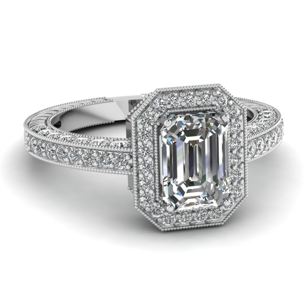 Emerald Cut Octagon Halo Antique Diamond Ring