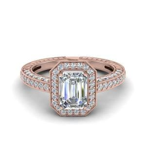 Octagon Halo Antique Diamond Ring