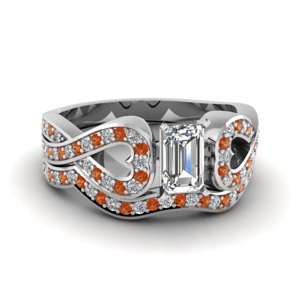 Entwined Emerald Cut Diamond Wedding Ring Set With Orange Sapphire In 14K White Gold