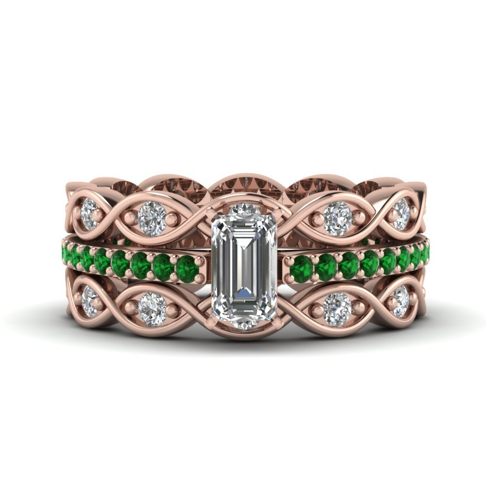 Emerald Cut Pave Infinity Trio Ring