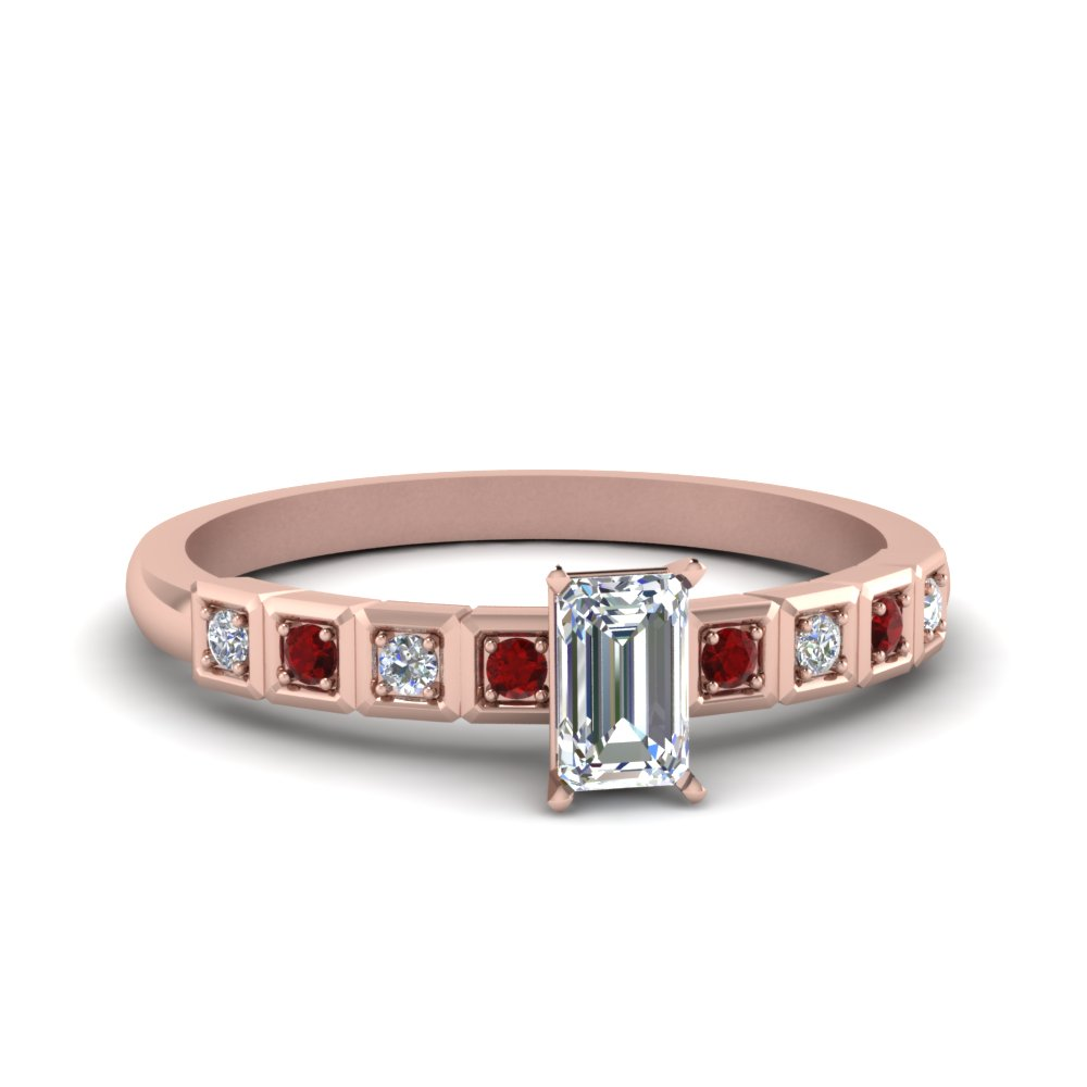 Emerald Cut Petite Block Design Diamond Engagement Ring With Ruby In 18K Rose Gold