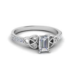 Petite celtic emerald cut diamond ring