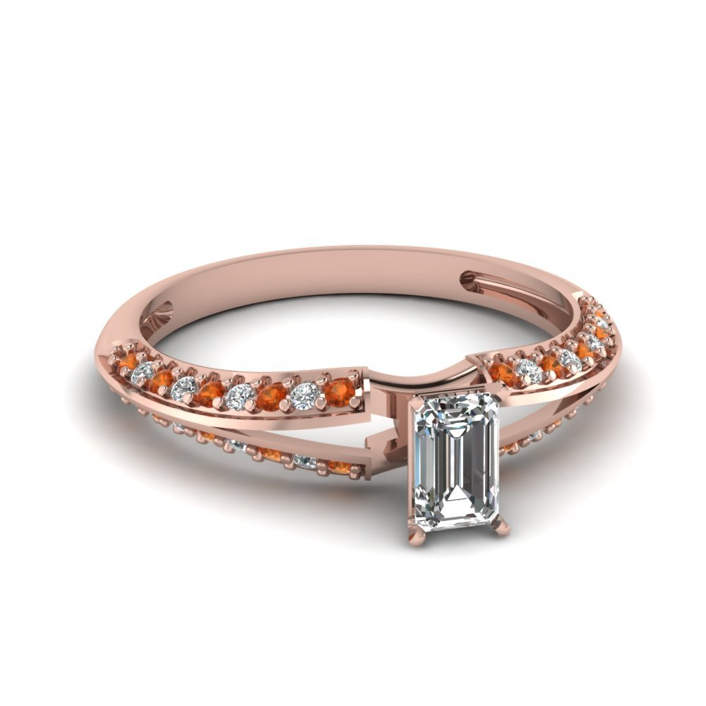 Emerald Cut Petite Split Shank Diamond Engagement Ring With Orange Sapphire In 14K Rose Gold