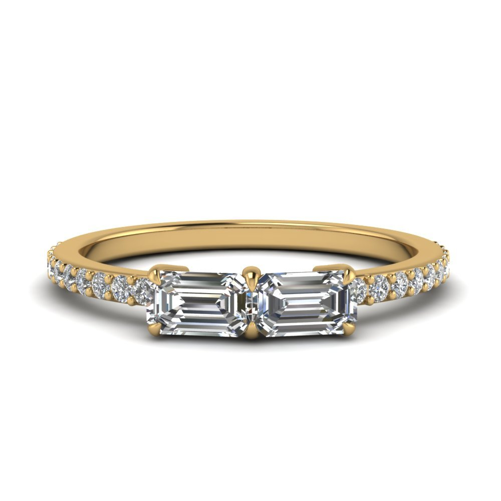Emerald Cut Simple 2 Stone Ring