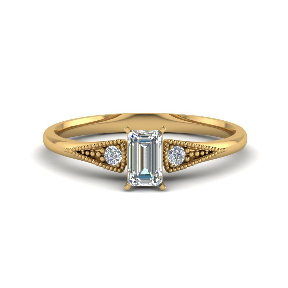 3 Stone Emerald Cut Diamond Rings