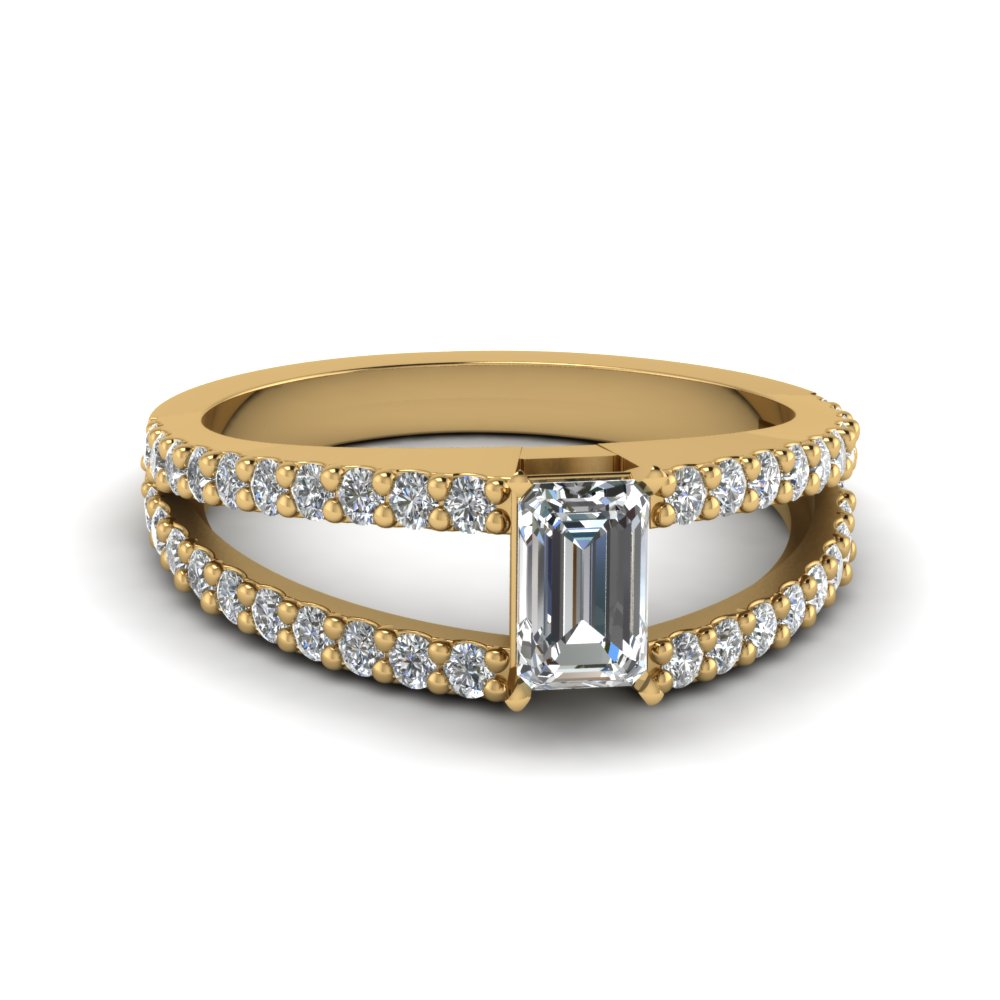 Emerald Cut Encrusted Split Ring