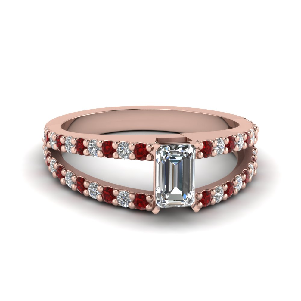 Emerald Cut Ruby Split Shank Ring