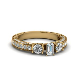 Emerald Cut Stone Accented U Prong Diamond Vintage Engagement Ring In 14K Yellow Gold