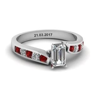 Unique Swirl Emerald Cut Diamond Engagement Ring With Ruby In 14K White Gold