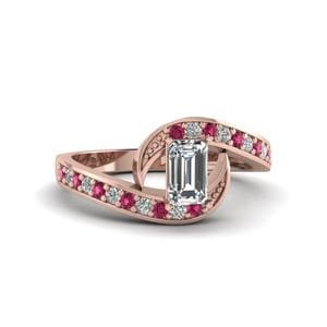 Pink Sapphire Petite Pave Ring