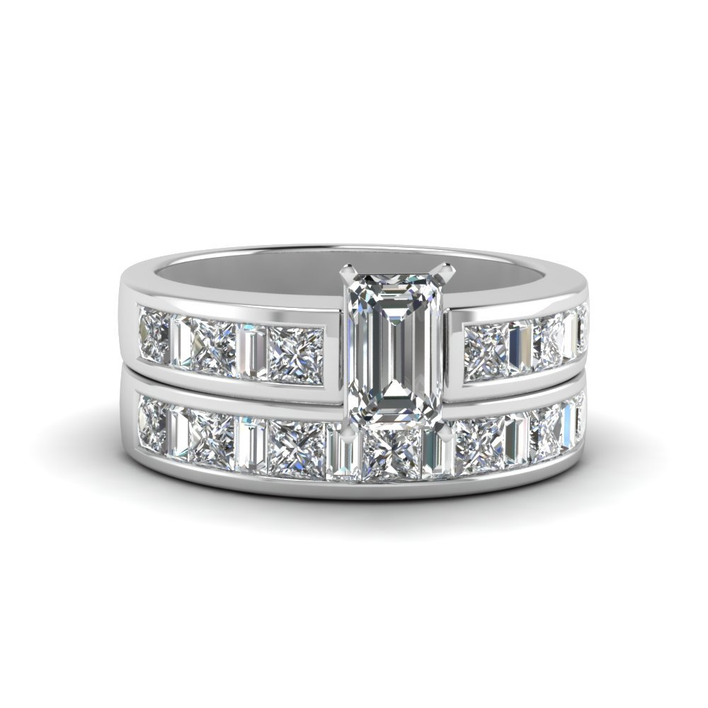 Thick Band Diamond Wedding Set