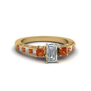 Emerald Cut Milgrain Ring
