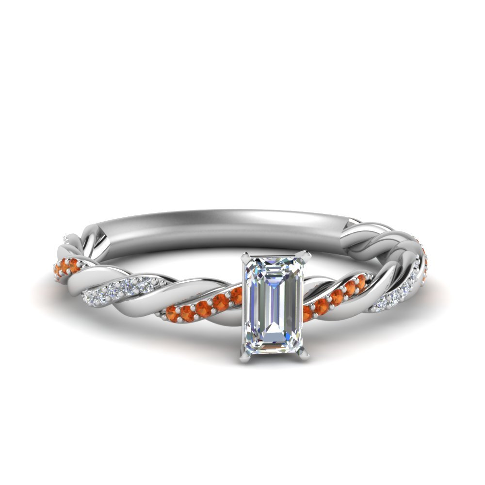 Twisted Delicate Emerald Cut Diamond Engagement Ring With Orange Sapphire In 14K White Gold