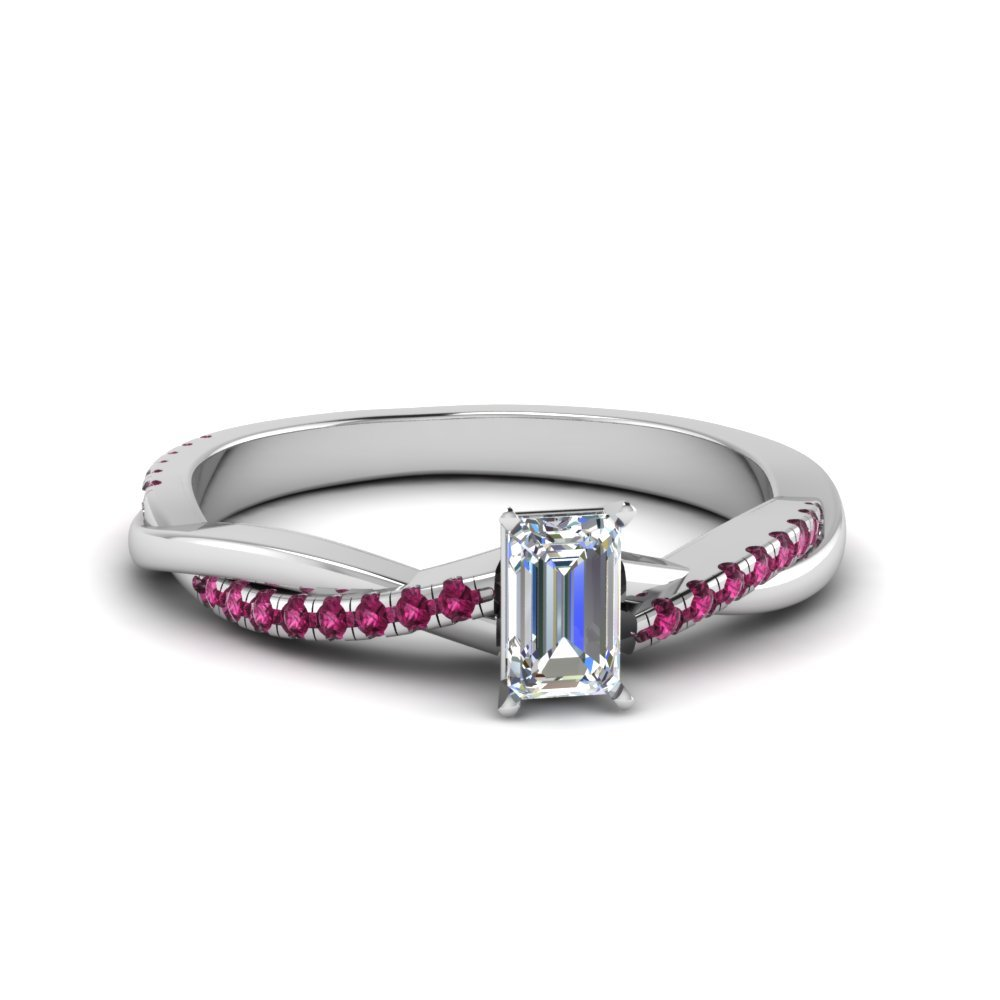 Emerald Cut Twisted Vine Diamond Ring With Pink Sapphire In 14K White Gold