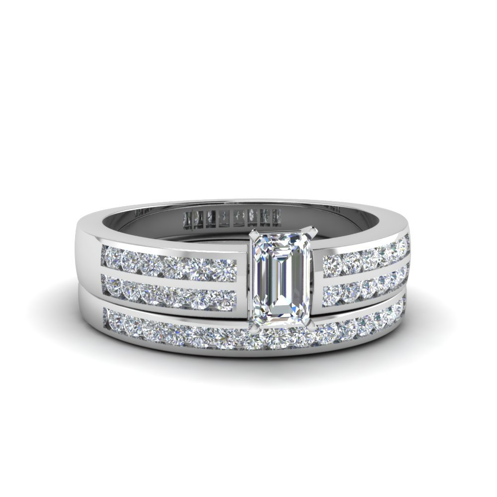 2 Row Channel Diamond Bridal Set