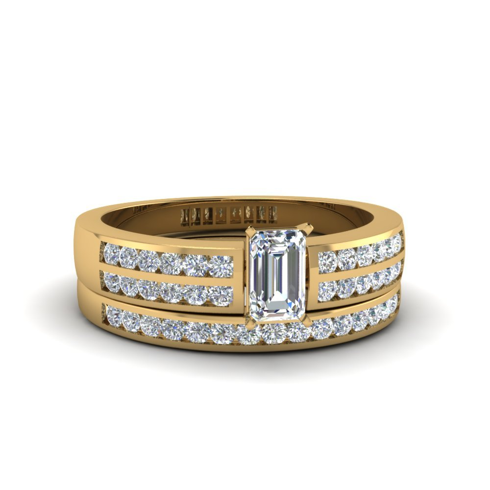 Emerald Cut Two Row Channel Diamond Bridal Set In 14K Yellow Gold