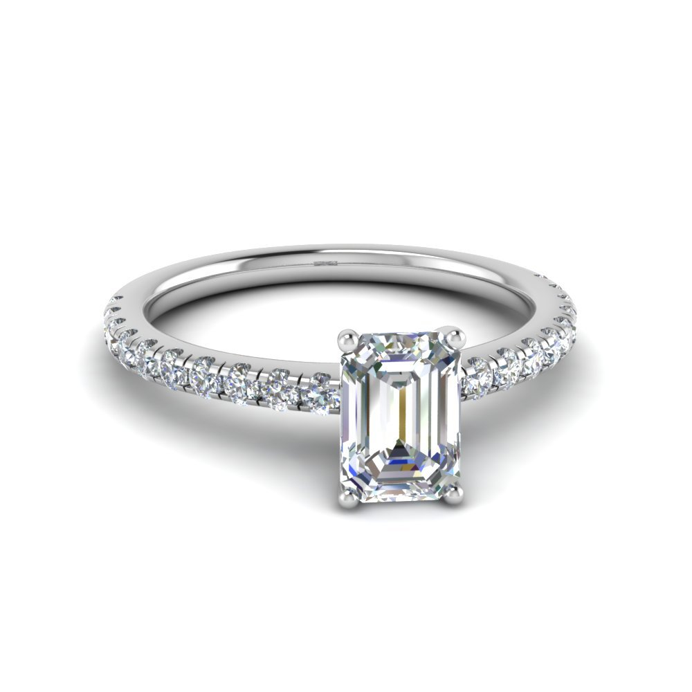 Emerald Cut U Prong Diamond Ring In 14K White Gold