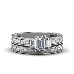 Emerald Cut With Baguette Vintage Wedding Set In 14K White Gold