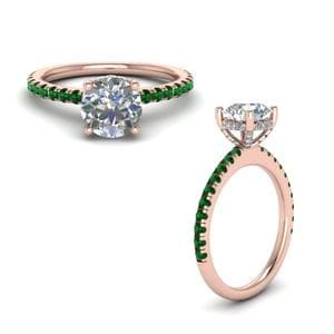 Emerald Diamond Prong Round Petite Ring In 18K Rose Gold