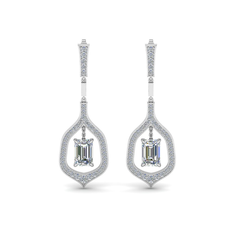 Emerald Cut Drop Diamond mothers Earring