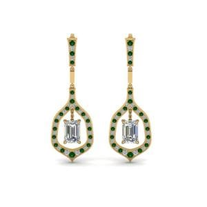 Pave Emerald Drop Hanging Earring