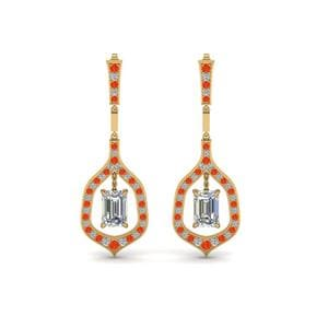 Hanging Orange Topaz Earring