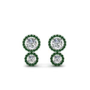 Dual Halo Emerald Stud Earring