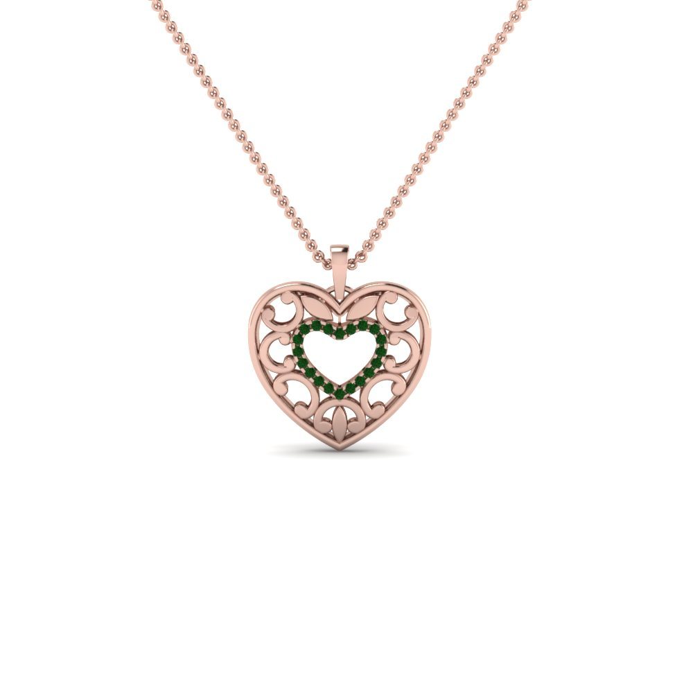 Emerald Filigree Heart Pendant In 14K Rose Gold