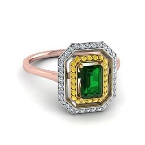 Emerald Gemstone Halo Ring For Mom In 14K Rose Gold