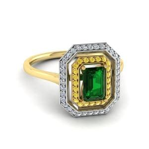 Emerald Gemstone Halo Ring