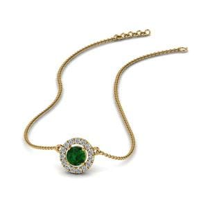Emerald Halo Pendant Necklace