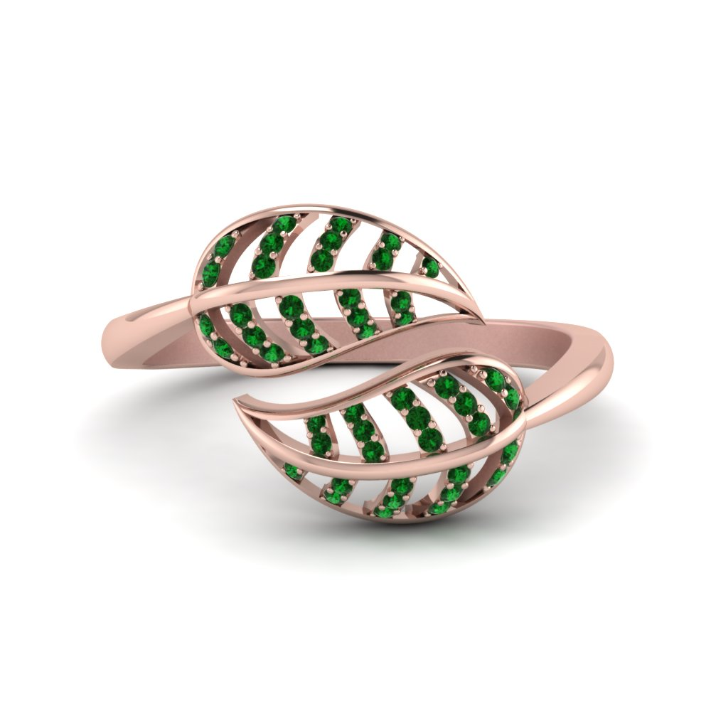Emerald Leaf Bypass Ring In 18K Rose Gold