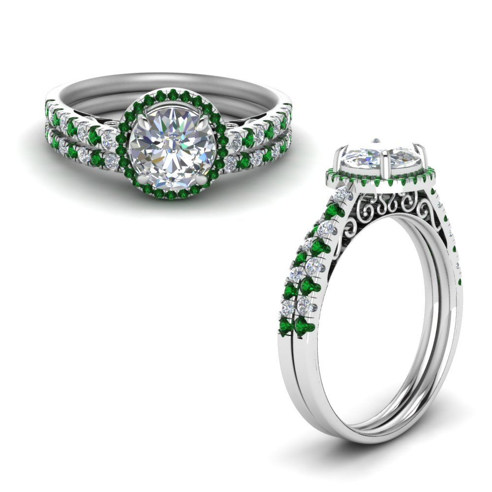 Emerald White Gold Ring Set