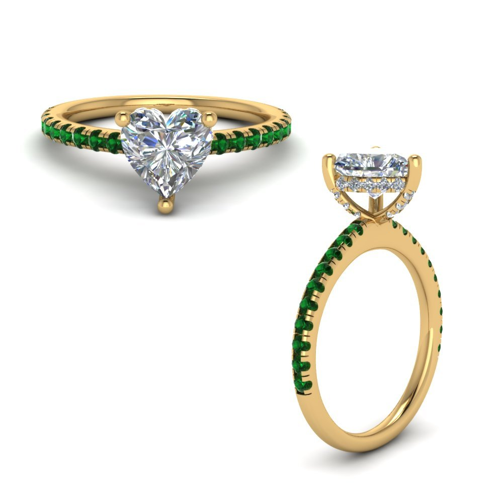 Emerald Prong Heart Shaped Diamond Petite Engagement Ring In 14K Yellow Gold