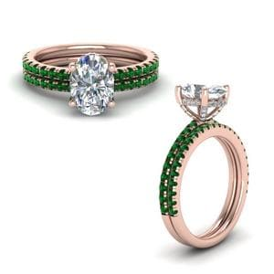 Emerald Prong Oval Shaped Diamond Petite Bridal Set In 18K Rose Gold