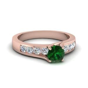 Emerald Swirl Prong Engagement Ring In 14K Rose Gold