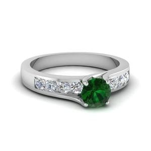 Emerald Swirl Prong Engagement Ring In 14K White Gold