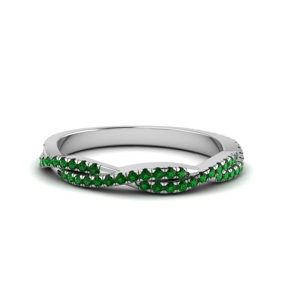 Emerald Twisted Wedding Band Gift For Her In 18K White Gold