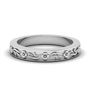 Engraved Flower Wedding Band