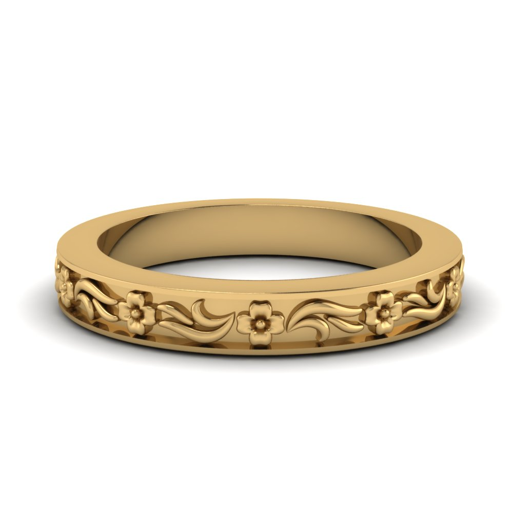 Engraved Flower Wedding Band In 14K Yellow Gold
