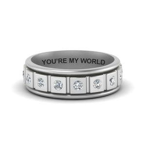 Engraved Mens Band With Diamonds
